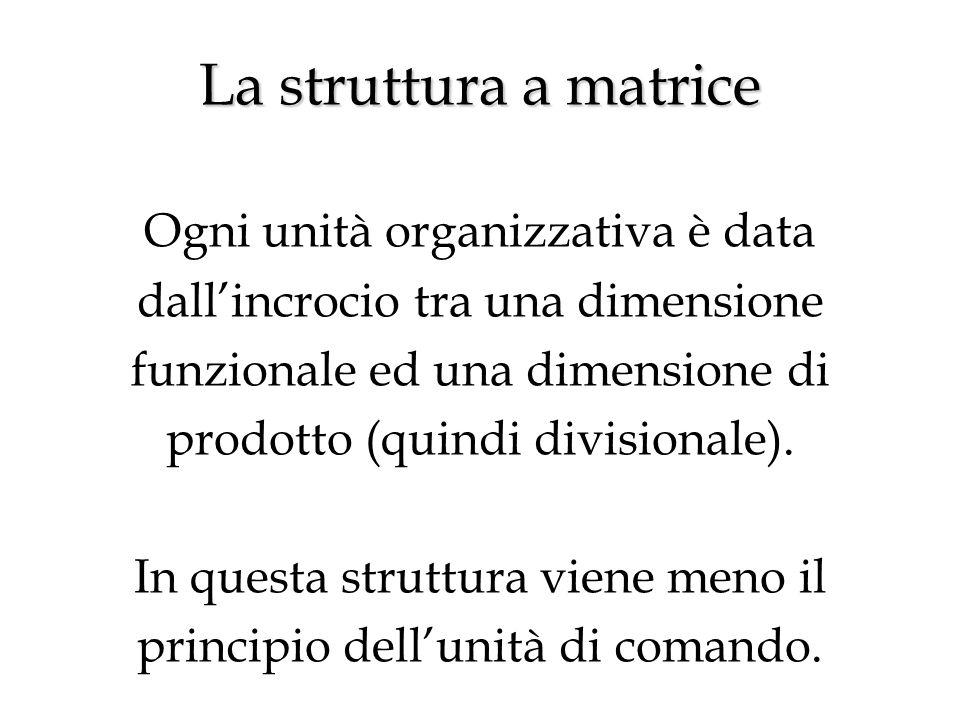 La struttura a matrice La struttura a matrice Ogni unità organizzativa è data dall'incrocio tra una dimensione funzionale ed una dimensione di prodotto (quindi divisionale).