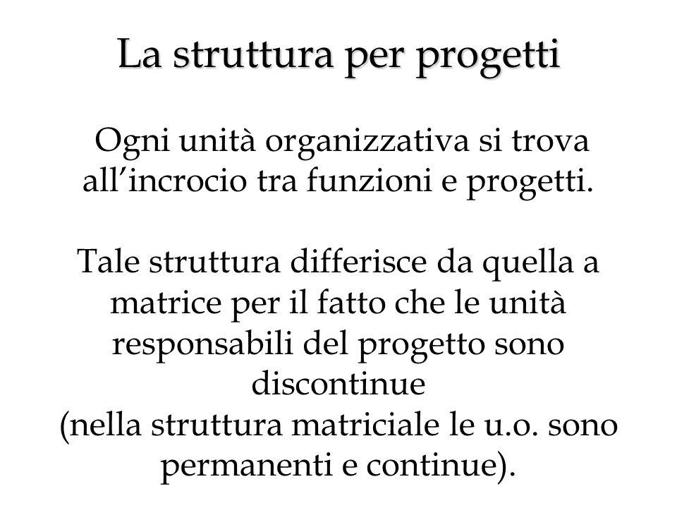 La struttura per progetti La struttura per progetti Ogni unità organizzativa si trova all'incrocio tra funzioni e progetti.
