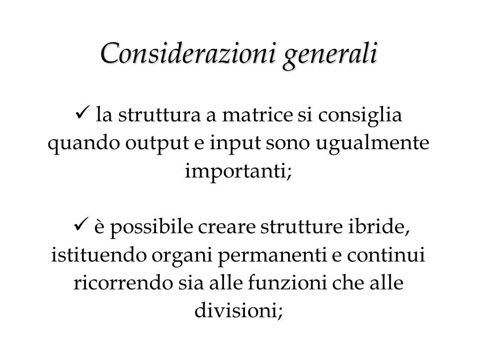 Considerazioni generali Considerazioni generali la struttura a matrice si consiglia quando output e input sono ugualmente importanti; è possibile creare strutture ibride, istituendo organi permanenti e continui ricorrendo sia alle funzioni che alle divisioni;