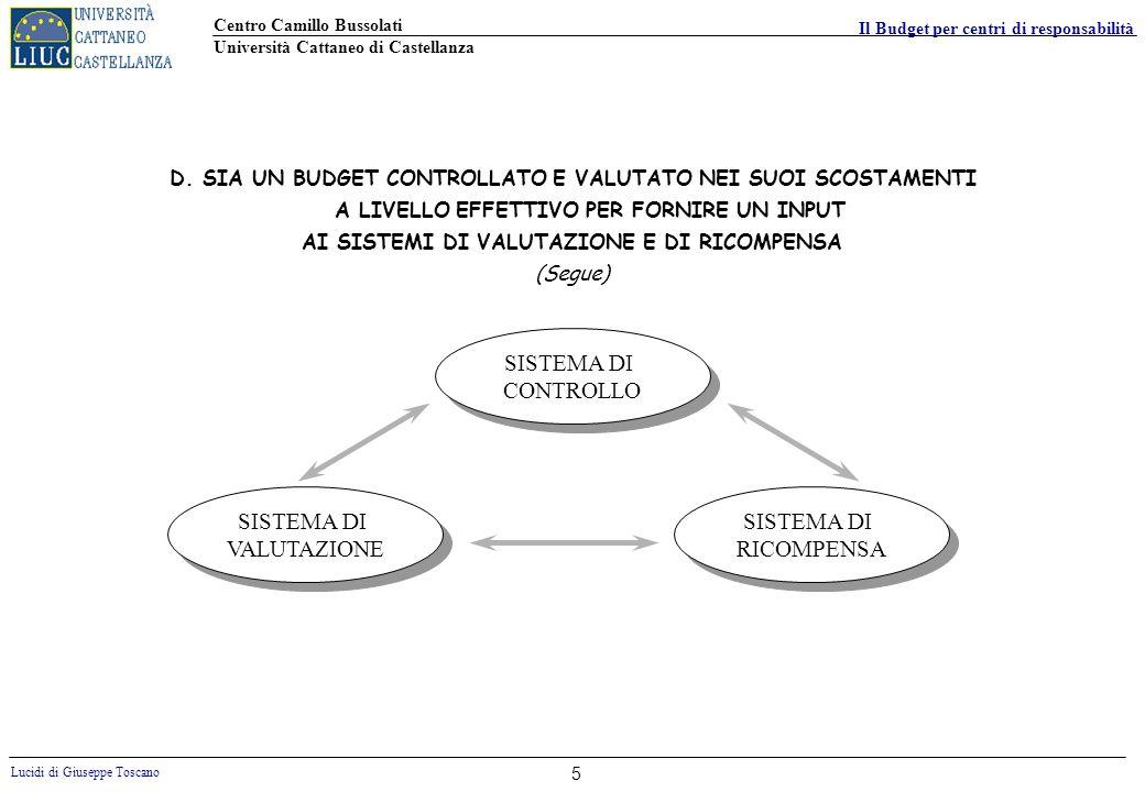 Centro Camillo Bussolati Università Cattaneo di Castellanza Lucidi di Giuseppe Toscano Il Budget per centri di responsabilità 6 SISTEMA DI P.