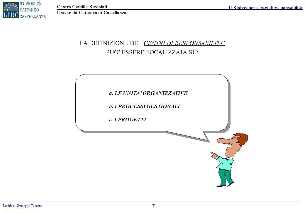 Centro Camillo Bussolati Università Cattaneo di Castellanza Lucidi di Giuseppe Toscano Il Budget per centri di responsabilità 7 LA DEFINIZIONE DEI CEN