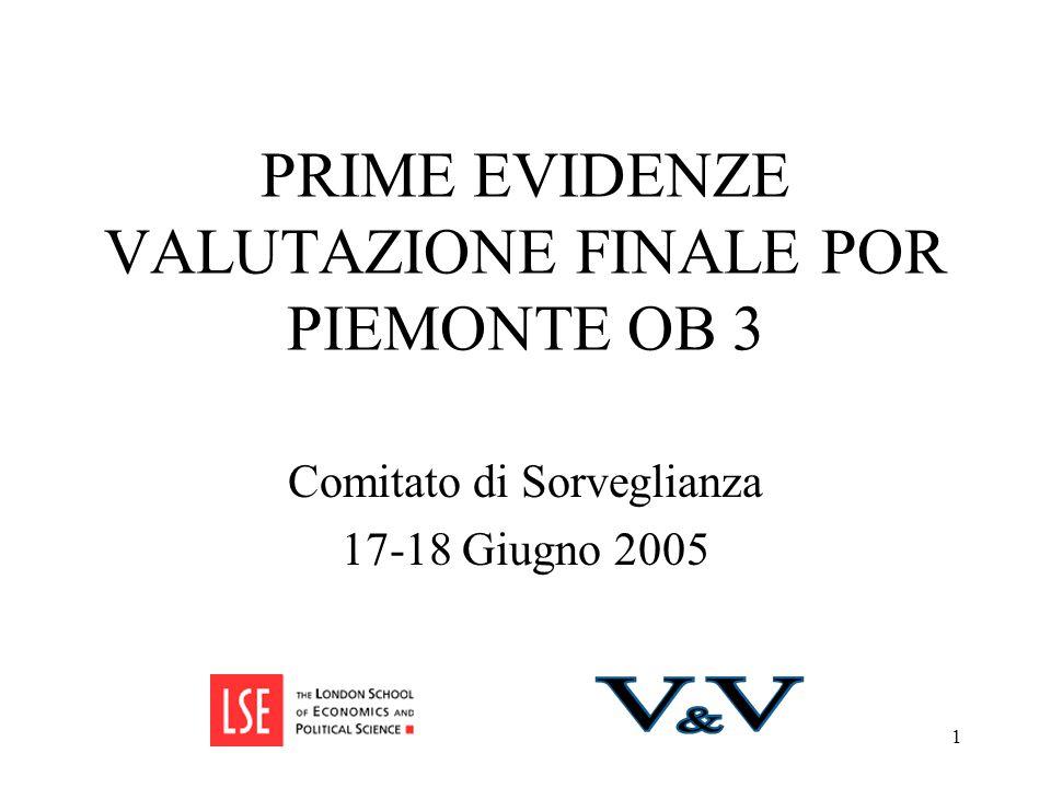 1 PRIME EVIDENZE VALUTAZIONE FINALE POR PIEMONTE OB 3 Comitato di Sorveglianza 17-18 Giugno 2005