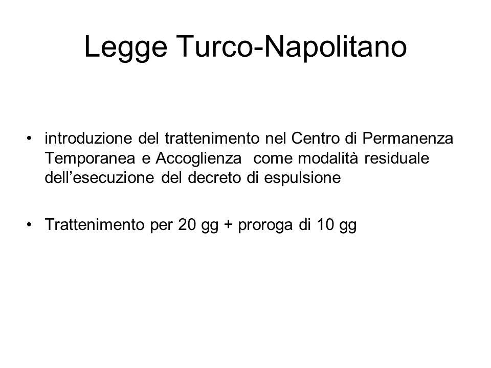 Legge Turco-Napolitano introduzione del trattenimento nel Centro di Permanenza Temporanea e Accoglienza come modalità residuale dell'esecuzione del decreto di espulsione Trattenimento per 20 gg + proroga di 10 gg