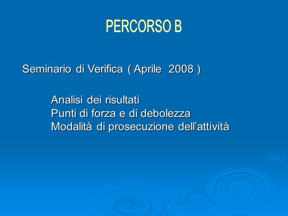 Seminario di Verifica ( Aprile 2008 ) Analisi dei risultati Punti di forza e di debolezza Modalità di prosecuzione dell'attività