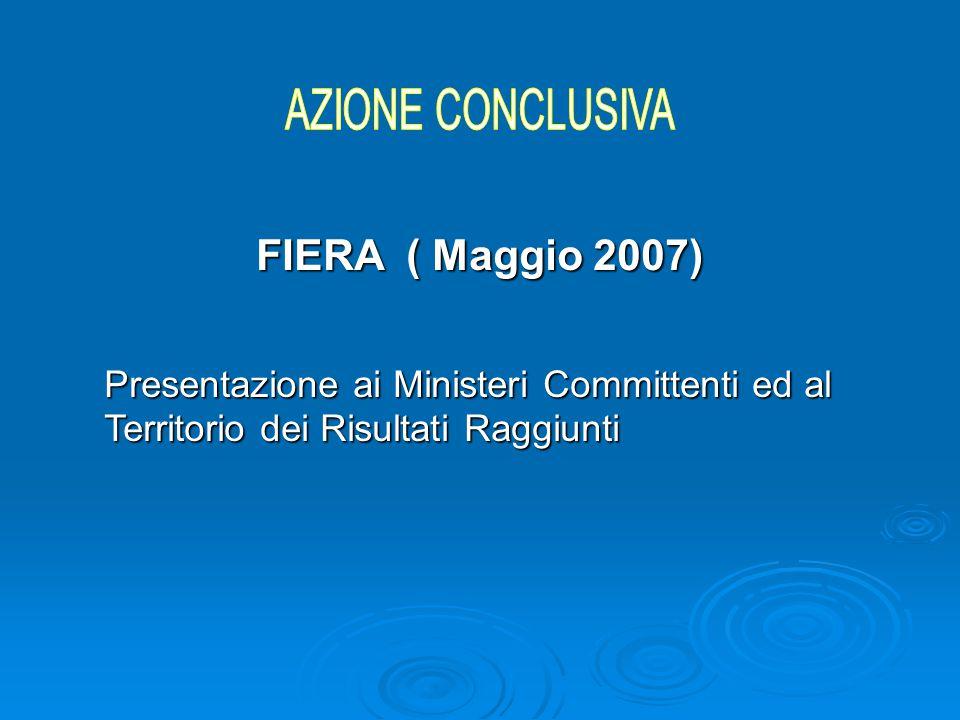FIERA ( Maggio 2007) Presentazione ai Ministeri Committenti ed al Territorio dei Risultati Raggiunti
