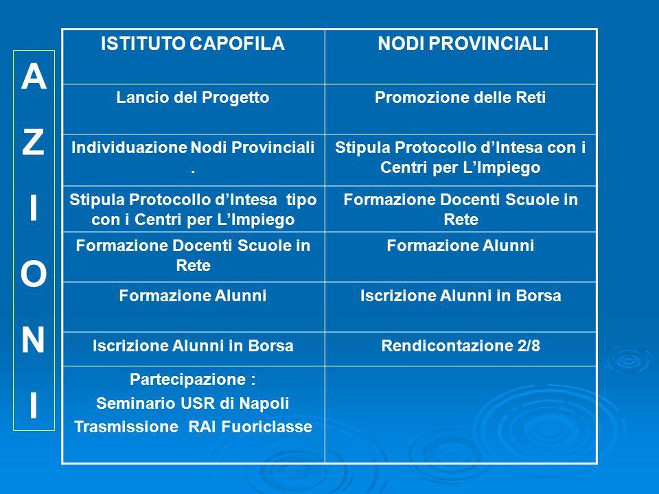 ISTITUTO CAPOFILA NODI PROVINCIALI Lancio del ProgettoPromozione delle Reti Individuazione Nodi Provinciali.