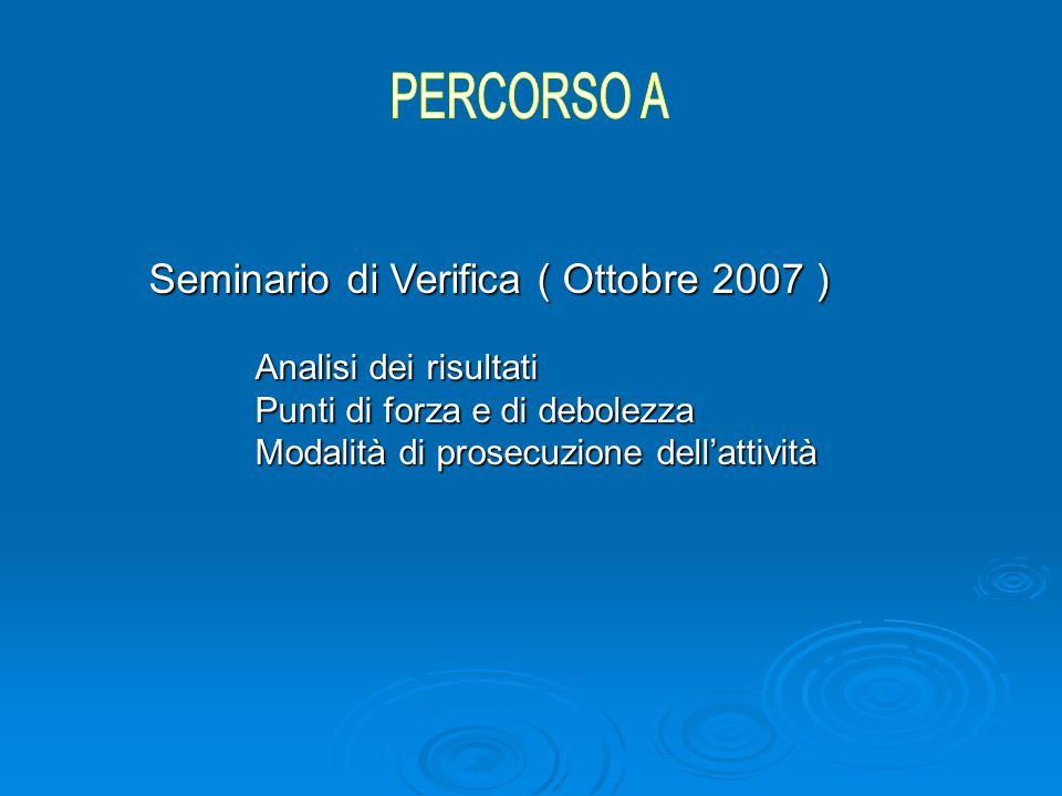 Seminario di Verifica ( Ottobre 2007 ) Analisi dei risultati Punti di forza e di debolezza Modalità di prosecuzione dell'attività