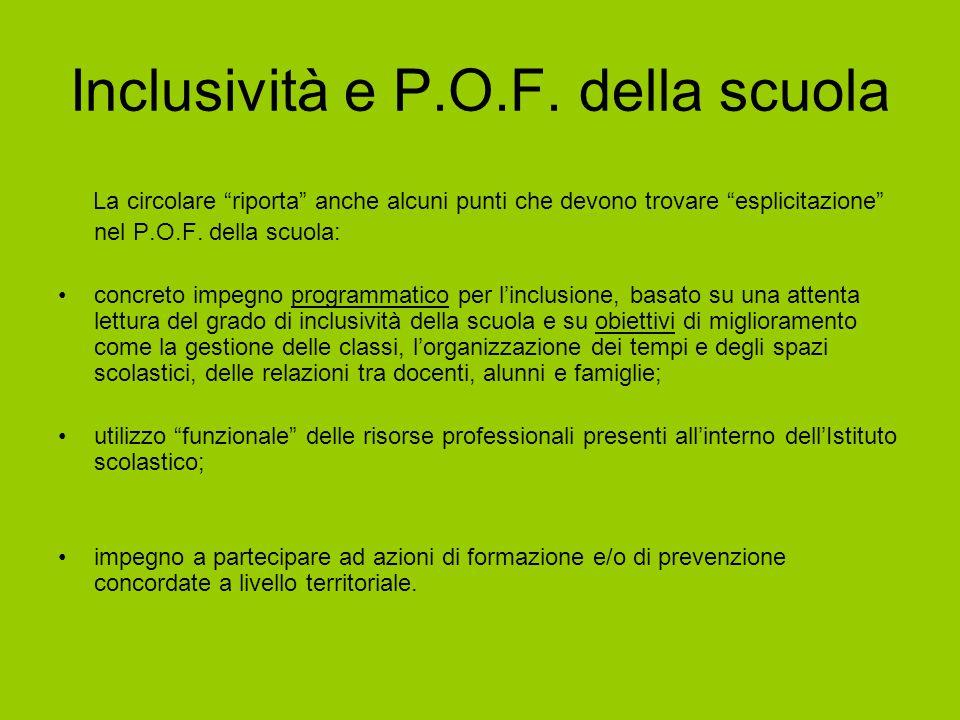 """Inclusività e P.O.F. della scuola La circolare """"riporta"""" anche alcuni punti che devono trovare """"esplicitazione"""" nel P.O.F. della scuola: concreto impe"""