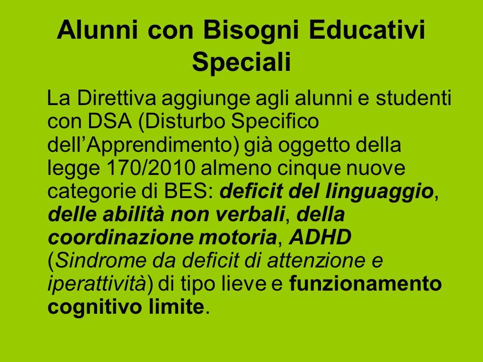 Alunni con Bisogni Educativi Speciali La Direttiva aggiunge agli alunni e studenti con DSA (Disturbo Specifico dell'Apprendimento) già oggetto della l