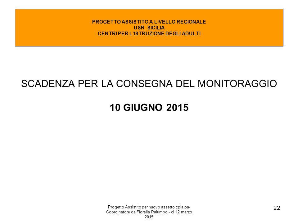 Progetto Assistito per nuovo assetto cpia pa- Coordinatore ds Fiorella Palumbo - cl 12 marzo 2015 22 SCADENZA PER LA CONSEGNA DEL MONITORAGGIO 10 GIUGNO 2015 PROGETTO ASSISTITO A LIVELLO REGIONALE USR SICILIA CENTRI PER L'ISTRUZIONE DEGLI ADULTI