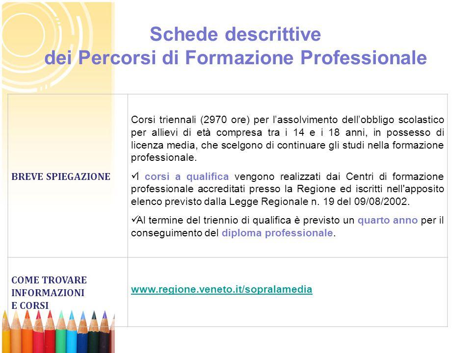 Schede descrittive dei Percorsi di Formazione Professionale BREVE SPIEGAZIONE Corsi triennali (2970 ore) per l'assolvimento dell'obbligo scolastico pe