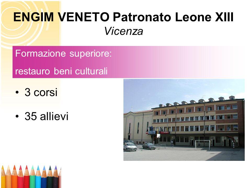 3 corsi 35 allievi Formazione superiore: restauro beni culturali ENGIM VENETO Patronato Leone XIII Vicenza