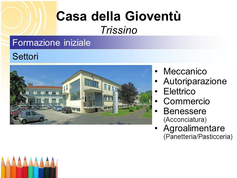 Casa della Gioventù Trissino Meccanico Autoriparazione Elettrico Commercio Benessere (Acconciatura) Agroalimentare (Panetteria/Pasticceria) Settori Formazione iniziale