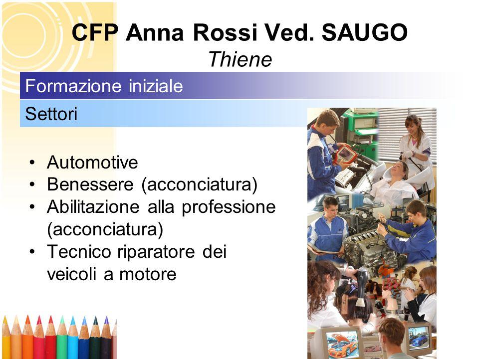 CFP Anna Rossi Ved. SAUGO Thiene Automotive Benessere (acconciatura) Abilitazione alla professione (acconciatura) Tecnico riparatore dei veicoli a mot