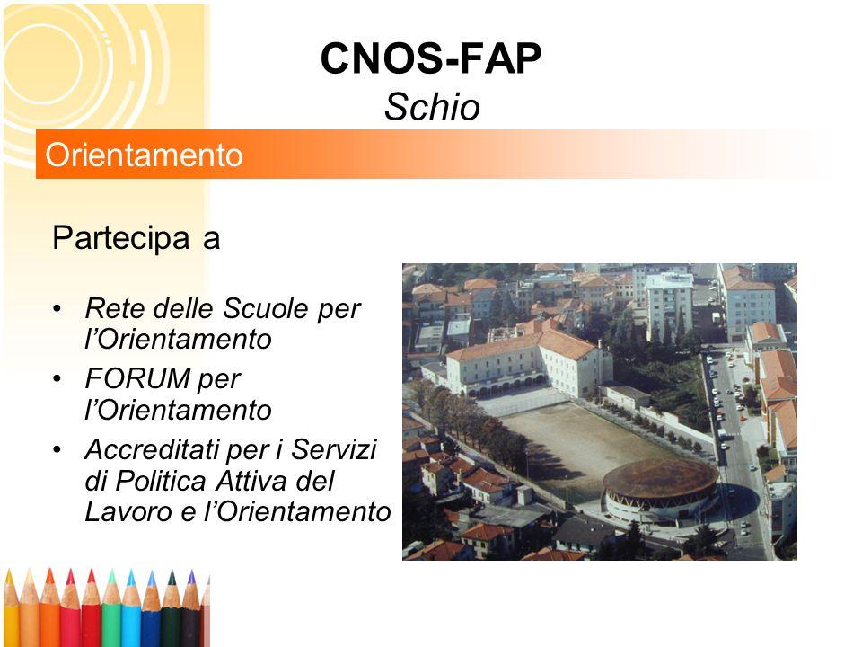 Partecipa a Rete delle Scuole per l'Orientamento FORUM per l'Orientamento Accreditati per i Servizi di Politica Attiva del Lavoro e l'Orientamento Orientamento CNOS-FAP Schio