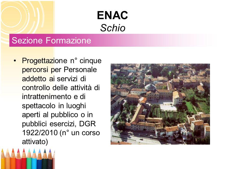 ENAC Schio Sezione Formazione Progettazione n° cinque percorsi per Personale addetto ai servizi di controllo delle attività di intrattenimento e di sp
