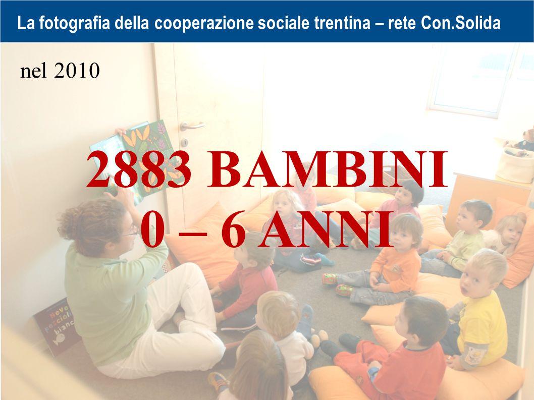 La fotografia della cooperazione sociale trentina – rete Con.Solida 2883 BAMBINI 0 – 6 ANNI nel 2010