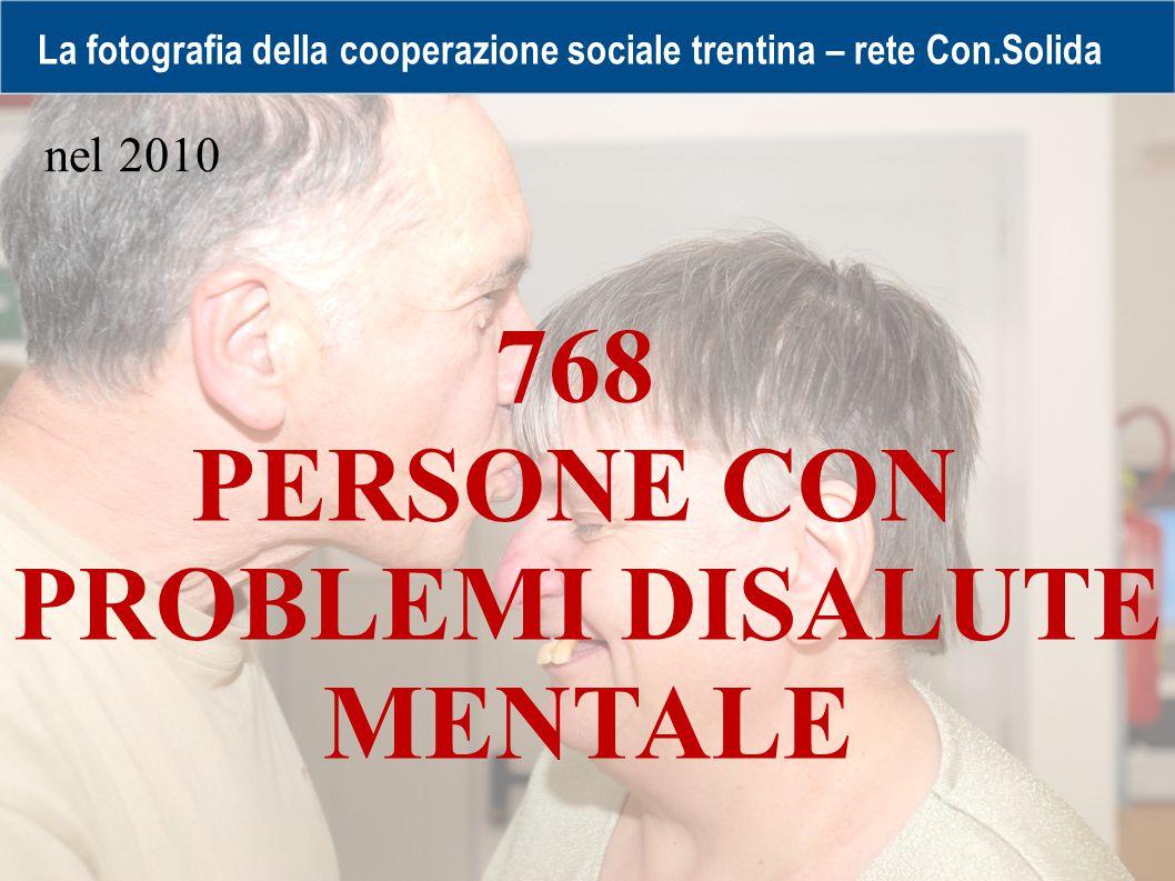 La fotografia della cooperazione sociale trentina – rete Con.Solida 768 PERSONE CON PROBLEMI DISALUTE MENTALE nel 2010