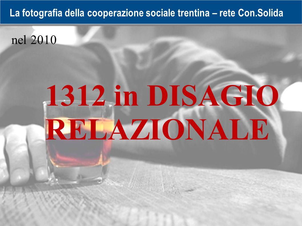 La fotografia della cooperazione sociale trentina – rete Con.Solida 1312 in DISAGIO RELAZIONALE nel 2010