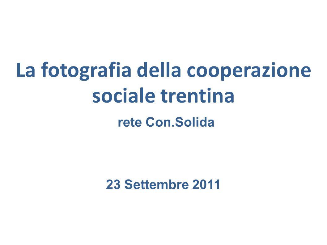 La fotografia della cooperazione sociale trentina – rete Con.Solida 3031 GIOVANI 18 - 25 ANNI nel 2010