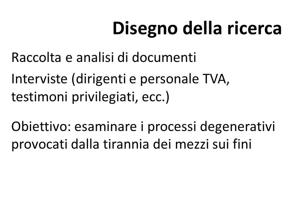 Disegno della ricerca Raccolta e analisi di documenti Interviste (dirigenti e personale TVA, testimoni privilegiati, ecc.) Obiettivo: esaminare i proc