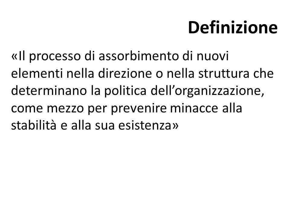 Definizione «Il processo di assorbimento di nuovi elementi nella direzione o nella struttura che determinano la politica dell'organizzazione, come mez