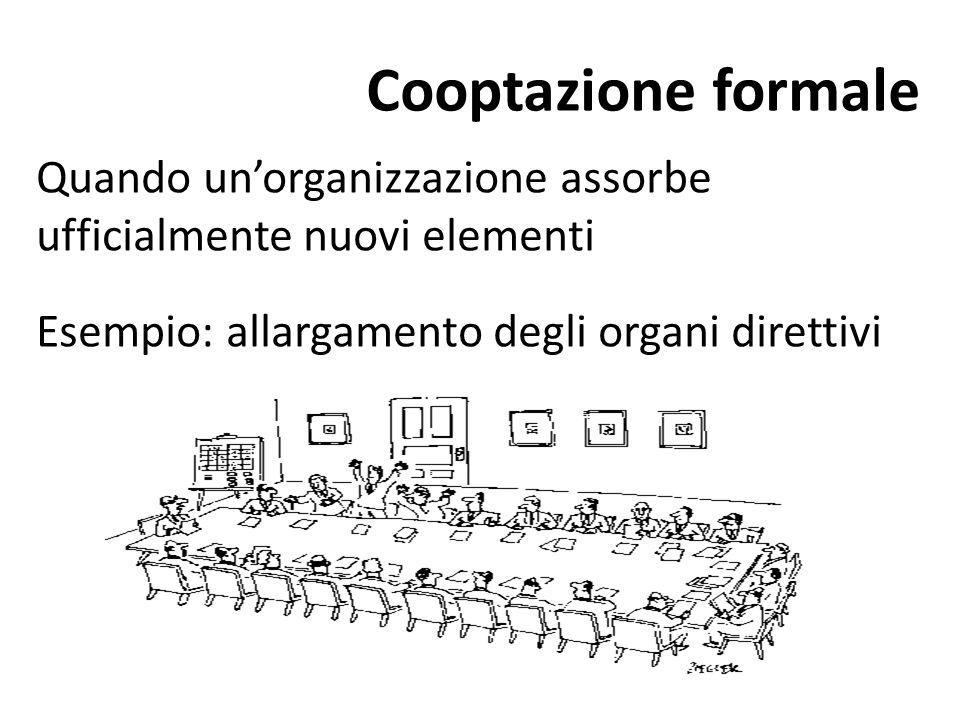 Cooptazione formale Quando un'organizzazione assorbe ufficialmente nuovi elementi Esempio: allargamento degli organi direttivi