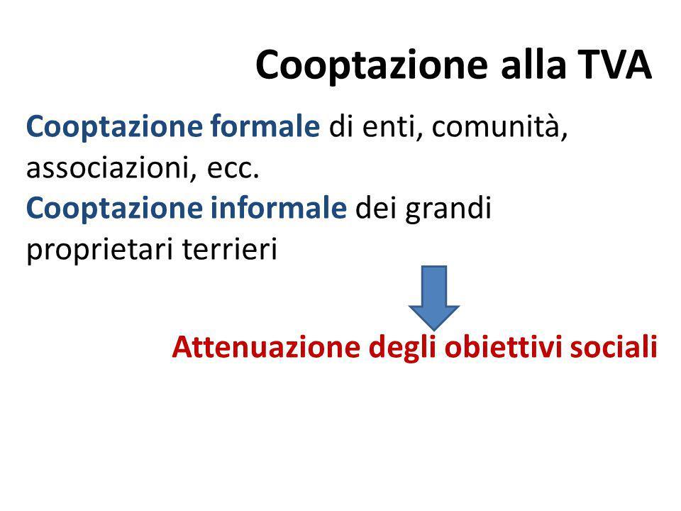 Cooptazione alla TVA Cooptazione formale di enti, comunità, associazioni, ecc. Cooptazione informale dei grandi proprietari terrieri Attenuazione degl