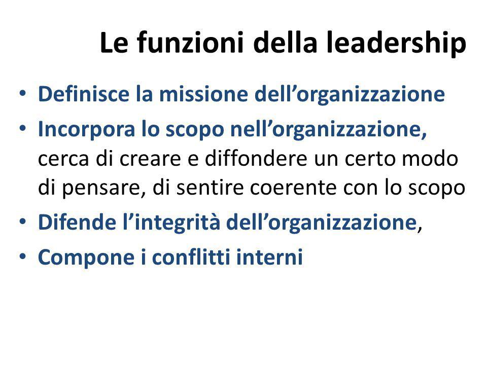 Le funzioni della leadership Definisce la missione dell'organizzazione Incorpora lo scopo nell'organizzazione, cerca di creare e diffondere un certo m
