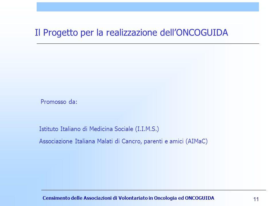 Censimento delle Associazioni di Volontariato in Oncologia ed ONCOGUIDA 11 Il Progetto per la realizzazione dell'ONCOGUIDA Istituto Italiano di Medicina Sociale (I.I.M.S.) Associazione Italiana Malati di Cancro, parenti e amici (AIMaC) Promosso da: