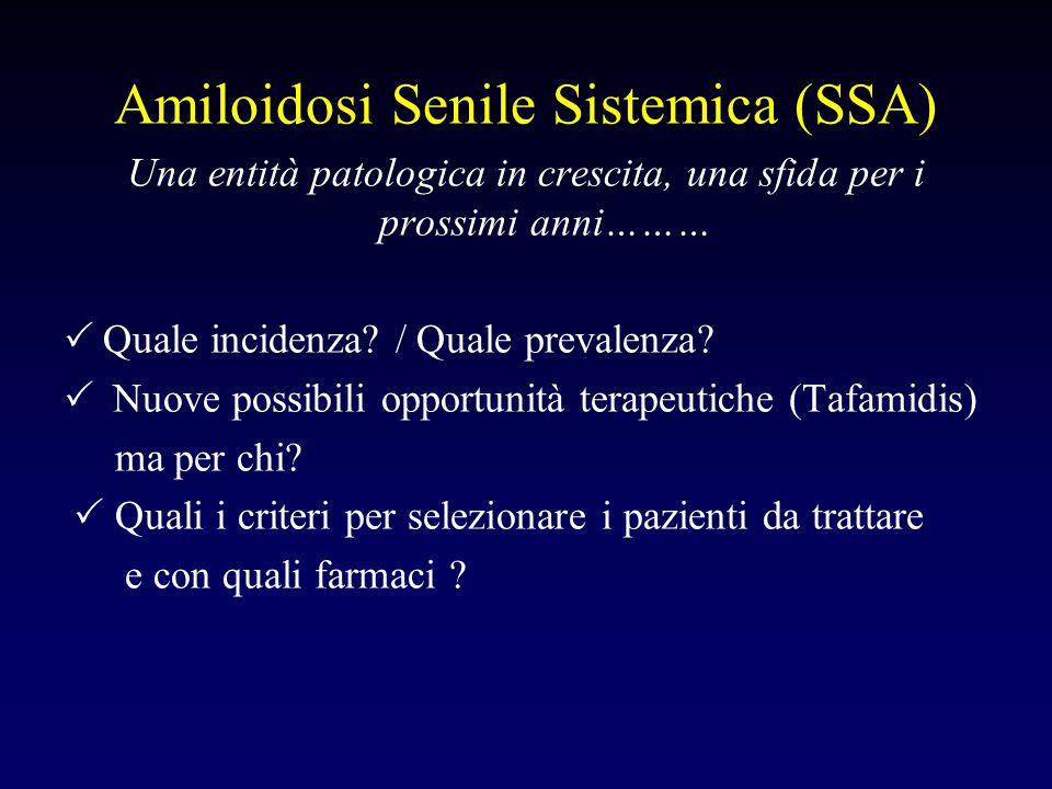 Amiloidosi Senile Sistemica (SSA) Una entità patologica in crescita, una sfida per i prossimi anni………  Quale incidenza? / Quale prevalenza?  Nuove p
