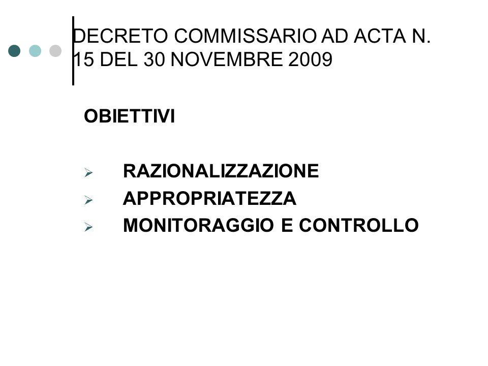 DECRETO COMMISSARIO AD ACTA N.15 DEL 30 NOVEMBRE 2009 MISURE PUNTUALE APPLICAZIONE DEL DD n.