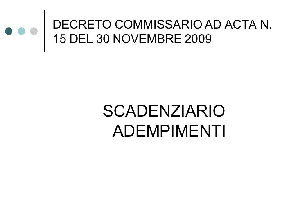 DECRETO COMMISSARIO AD ACTA N. 15 DEL 30 NOVEMBRE 2009 SCADENZIARIO ADEMPIMENTI