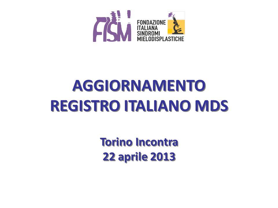 AGGIORNAMENTO REGISTRO ITALIANO MDS Torino Incontra 22 aprile 2013 AGGIORNAMENTO REGISTRO ITALIANO MDS Torino Incontra 22 aprile 2013