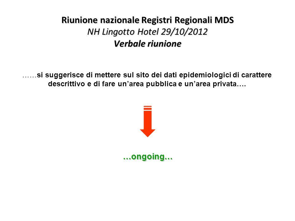 Riunione nazionale Registri Regionali MDS NH Lingotto Hotel 29/10/2012 Verbale riunione ……si suggerisce di mettere sul sito dei dati epidemiologici di carattere descrittivo e di fare un'area pubblica e un'area privata….