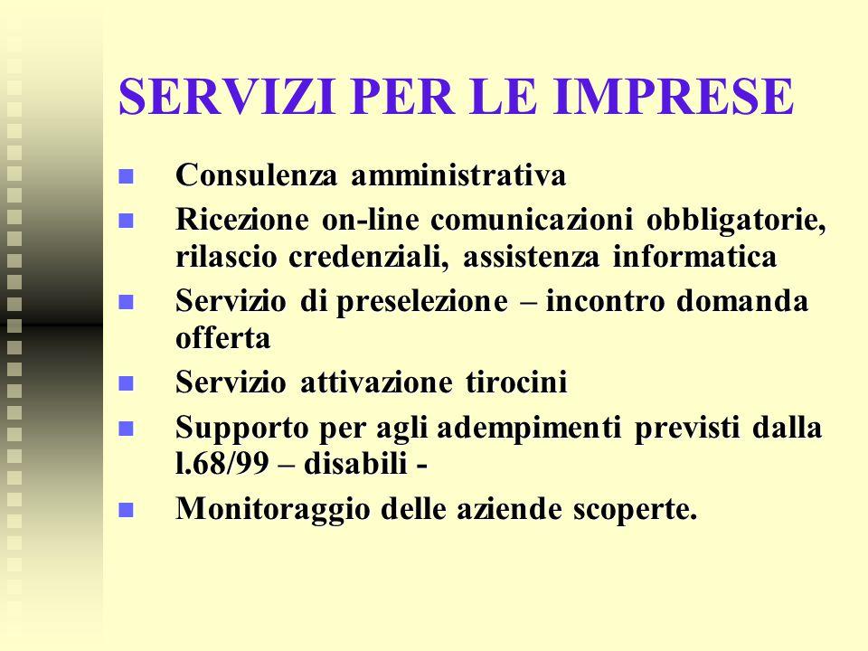 SERVIZI PER LE IMPRESE Consulenza amministrativa Consulenza amministrativa Ricezione on-line comunicazioni obbligatorie, rilascio credenziali, assiste