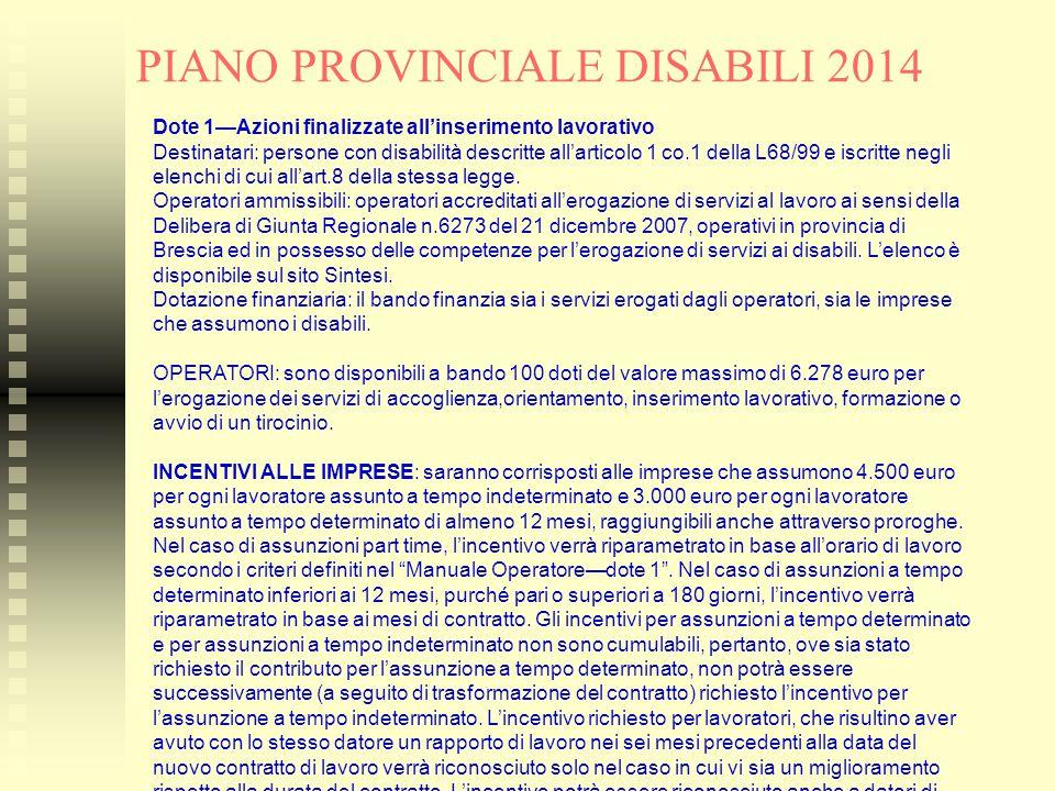 PIANO PROVINCIALE DISABILI 2014 Dote 1—Azioni finalizzate all'inserimento lavorativo Destinatari: persone con disabilità descritte all'articolo 1 co.1