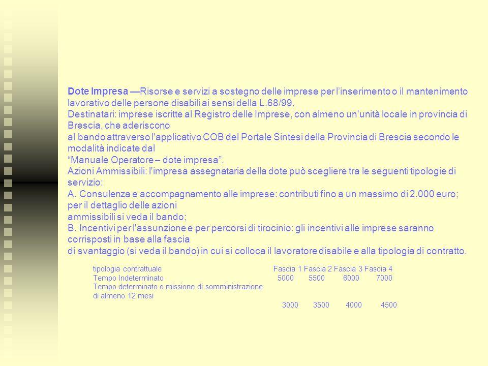 Dote Impresa —Risorse e servizi a sostegno delle imprese per l'inserimento o il mantenimento lavorativo delle persone disabili ai sensi della L.68/99.