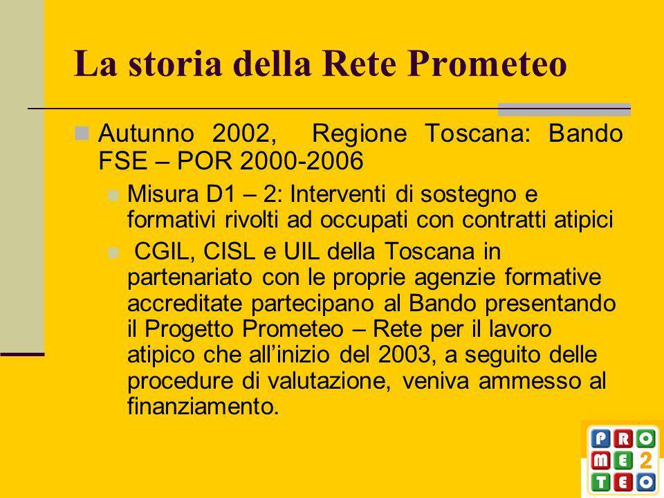 La storia della Rete Prometeo Autunno 2002, Regione Toscana: Bando FSE – POR 2000-2006 Misura D1 – 2: Interventi di sostegno e formativi rivolti ad occupati con contratti atipici CGIL, CISL e UIL della Toscana in partenariato con le proprie agenzie formative accreditate partecipano al Bando presentando il Progetto Prometeo – Rete per il lavoro atipico che all'inizio del 2003, a seguito delle procedure di valutazione, veniva ammesso al finanziamento.