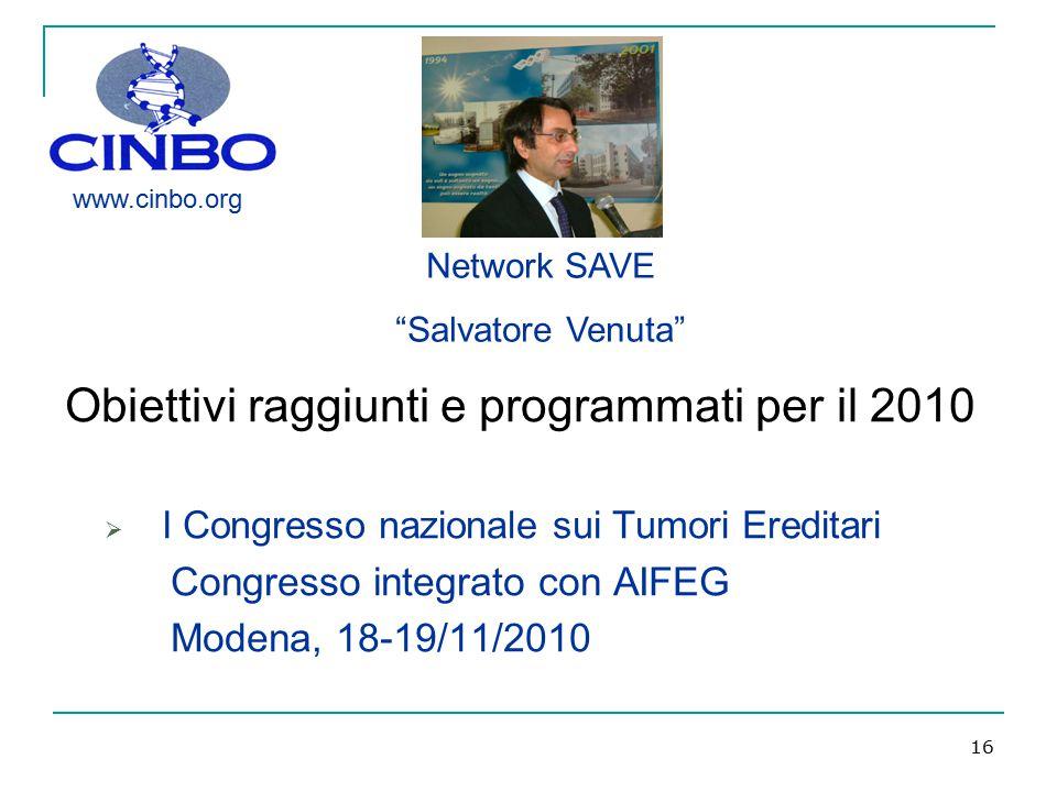 16 Obiettivi raggiunti e programmati per il 2010  I Congresso nazionale sui Tumori Ereditari Congresso integrato con AIFEG Modena, 18-19/11/2010 Netw