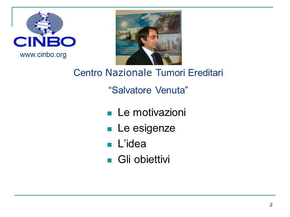 """2 Le motivazioni Le esigenze L'idea Gli obiettivi Centro Nazionale Tumori Ereditari """"Salvatore Venuta"""" www.cinbo.org"""