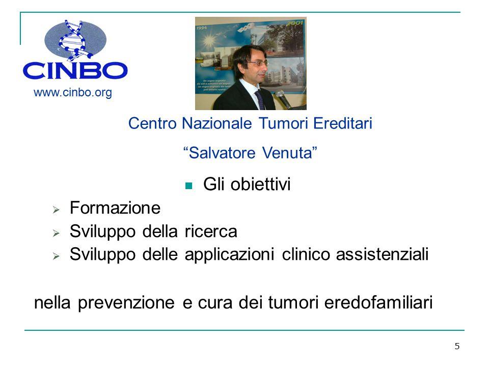 5 Gli obiettivi  Formazione  Sviluppo della ricerca  Sviluppo delle applicazioni clinico assistenziali nella prevenzione e cura dei tumori eredofam