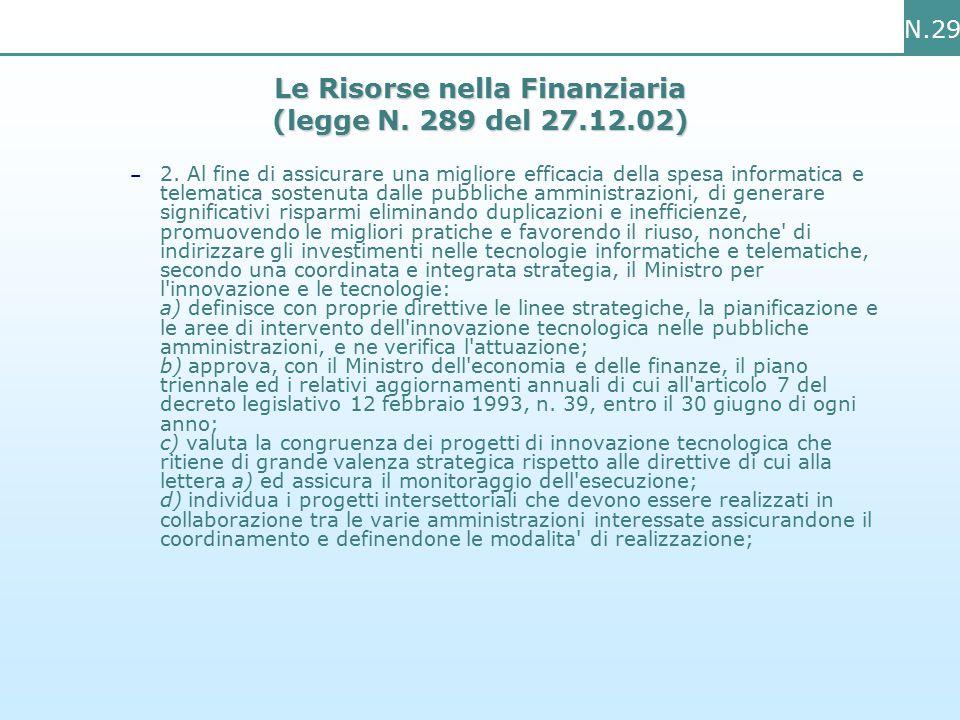 N.29 Le Risorse nella Finanziaria (legge N. 289 del 27.12.02) – 2.