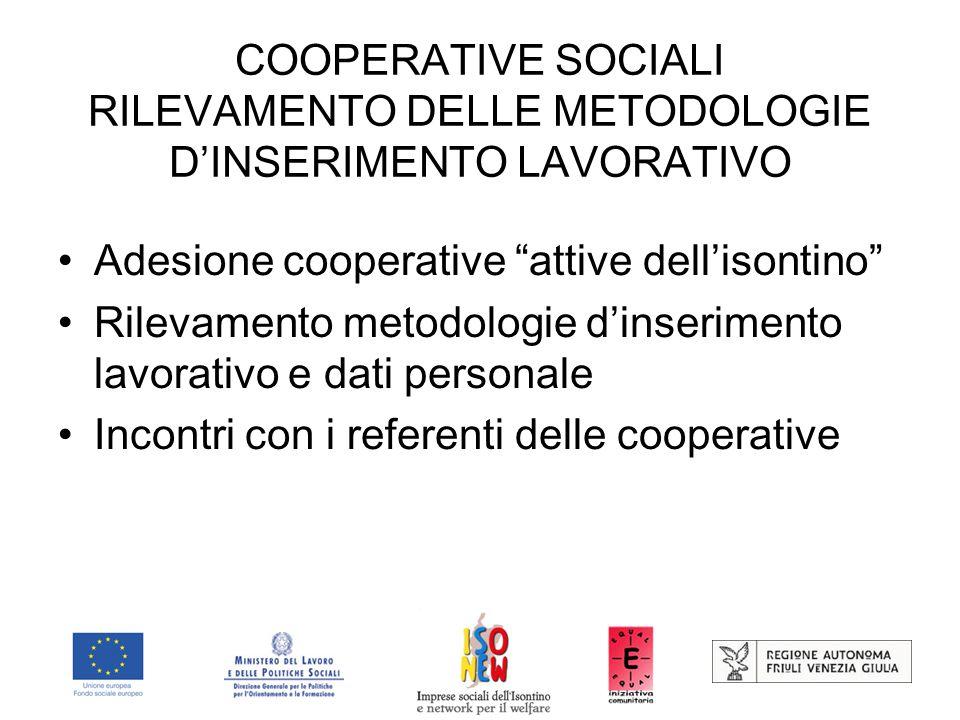 COOPERATIVE SOCIALI RILEVAMENTO DELLE METODOLOGIE D'INSERIMENTO LAVORATIVO Adesione cooperative attive dell'isontino Rilevamento metodologie d'inserimento lavorativo e dati personale Incontri con i referenti delle cooperative