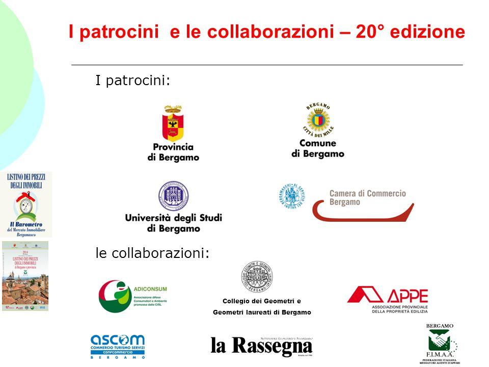I patrocini e le collaborazioni – 20° edizione I patrocini: le collaborazioni: Collegio dei Geometri e Geometri laureati di Bergamo