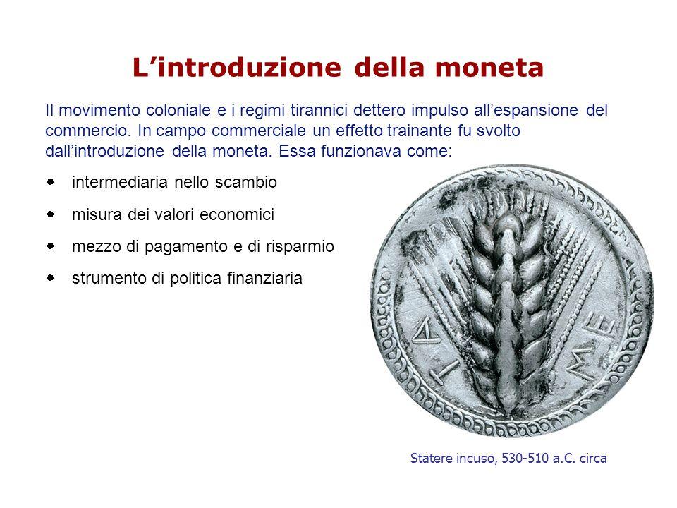 L'introduzione della moneta Il movimento coloniale e i regimi tirannici dettero impulso all'espansione del commercio.