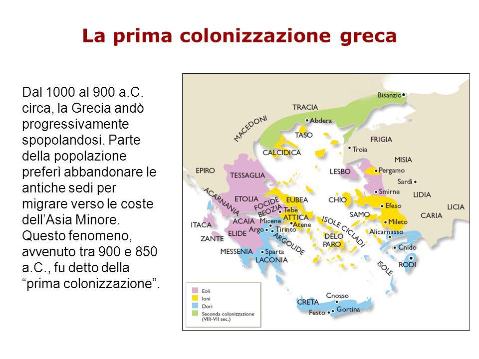 La prima colonizzazione greca Dal 1000 al 900 a.C. circa, la Grecia andò progressivamente spopolandosi. Parte della popolazione preferì abbandonare le