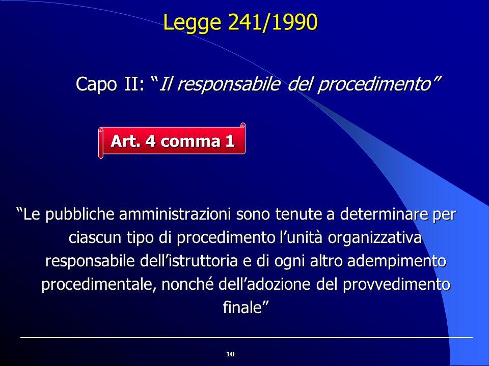 """10 Legge 241/1990 """"Le pubbliche amministrazioni sono tenute a determinare per ciascun tipo di procedimento l'unità organizzativa responsabile dell'ist"""