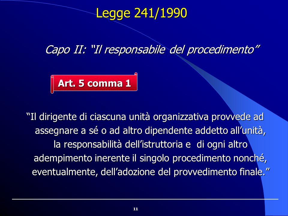 """11 """"Il dirigente di ciascuna unità organizzativa provvede ad assegnare a sé o ad altro dipendente addetto all'unità, la responsabilità dell'istruttori"""