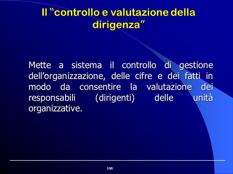 120 Mette a sistema il controllo di gestione dell'organizzazione, delle cifre e dei fatti in modo da consentire la valutazione dei responsabili (dirig